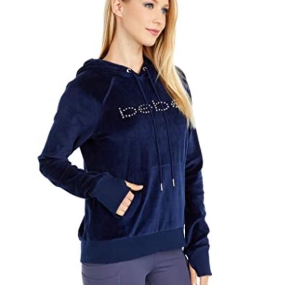 BEBE SPORT Velour Pullover with Rivet Stud Logo